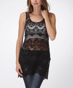 This Black Sheer Crochet Sleeveless Tunic by Bellino is perfect! Nice crochet top, look great with leggings