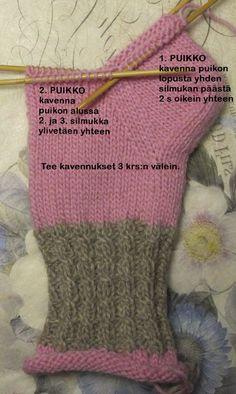 Sukat, helppo nauhakavennuskantapää | Punomo Crochet Socks, Knitting Socks, Knitting Needles, Knit Crochet, Knitting Projects, Knitting Patterns, Cheap Yarn, Diy Clothes, Fingerless Gloves