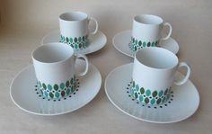 Thomas Germany Vintage MCM Coffee Tea Cups & Saucers Set of 4 Green Black White | eBay