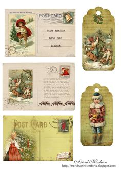 Christmas Postcard Sheet. This blog has tons of free printable scrapbook paper, journal paper, embellishments, and other scrapbooking decorations. All vintage (my favorite!). #crafts