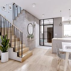 Home Stairs Design, Interior Stairs, Home Room Design, Interior Design Living Room, House Architecture Styles, House Staircase, Casa Patio, Home Entrance Decor, Hallway Designs