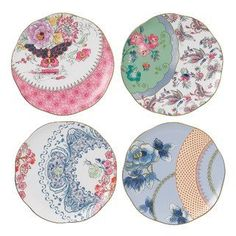 """Like the blue floral, lower right...Wedgwood Harlequin Butterfly Bloom Plates 8.25"""" Set(s) Of 4 by Wedgwood - Fine Bone China, http://www.amazon.com/dp/B007CL7AJE/ref=cm_sw_r_pi_dp_mV9nsb1C4GHX5"""