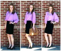 Business causal doesn't have to be boring! Pair this lavender top with a fitted pencil skirt and a gorgeous bag to finish the look!