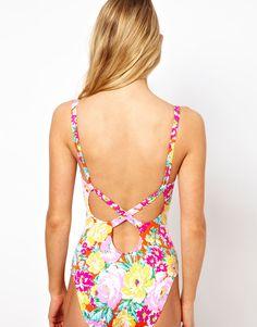 Cuban Floral Cross Back Swimsuit