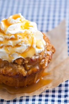 Apple Pie Cupcake ~ press discs of refrigerated cinnamon roll dough into a muffin tin; saute peeled and diced apples in butter, add brown sugar, cinnamon, lemon juice; spoon apples into each muffin; sprinkle with streusel (butter, flour, brown sugar, chopped walnuts); bake and cool, then add optional whipped cream and caramel syrup
