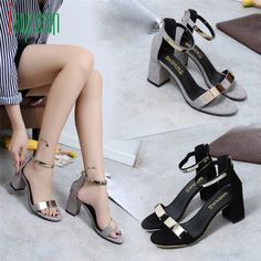 Summer Sandals Open Toe Women Sandals Thick Heel Shoes