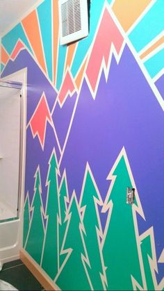 Geometric mountain design / mural that I just painted on my wall. Just takes some time, and the essential thing is the Frog Tape that creates a seal so the paint doesn't seep through and you end up with gorgeous, crisp lines! Mountain Mural, Mountain Paintings, Blue Mountain, Geometric Mountain, Geometric Wall, Tape Painting, Painting Walls, School Murals, Mountain Designs