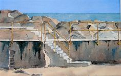 Steps at Staithes, Yorkshire Peter Robinson, Yorkshire, Watercolor Paintings, Mosaic, Friends, Inspiration, Art, Watercolour Paintings, Amigos
