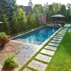 The Drozdowskis Inground Pools Showcase 🌿 . The Drozdowskis backyard retreat wi Backyard Pool Landscaping, Backyard Pool Designs, Small Backyard Pools, Swimming Pools Backyard, Backyard Retreat, Swimming Pool Designs, Landscaping Ideas, Landscaping Software, Kleiner Pool Design