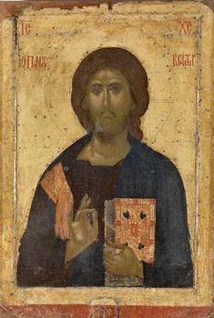 Христос Вседержитель. Двухсторонняя икона (на второй стороне изображен св. Афанасий Афонский). 1360-1380 гг. (Photo : © Monastère de Pantocrator)