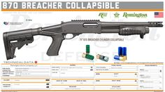 Remington Arms Company, LLC -  870 Breacher Collapsible Tactical Shotgun, Tactical Gear, Shotguns, Firearms, Military Brat, Jay Rock, Dinosaur Drawing, Gun Storage, Shots