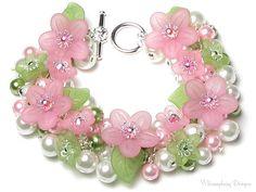 Springtime Love Pastel Pink & Green Floral Charm Bracelet, Swarovski Crystal Pearl Cluster Lucite Spring Flower Bracelet, Mother's Day Gift on Etsy, $36.00