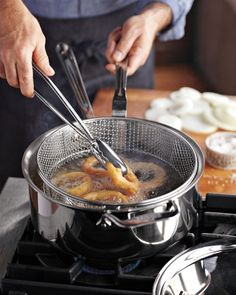All-Clad d5 Stainless-Steel Deep 6-Qt. Sauté Pan with Fry Basket & Tongs #williamssonoma