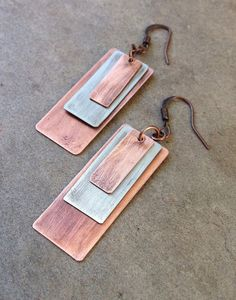 geometric mixed metal copper silver earrings