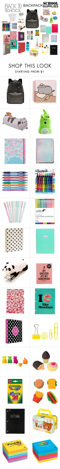 """""""#back2school"""" by molleighderp ❤ liked on Polyvore featuring Valentino, Gund, Lilly Pulitzer, Paper Mate, Sharpie, Yoobi, Kate Spade, Mead, Post-It and Victoria's Secret PINK"""