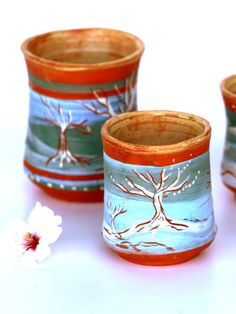 Tea cups, Tree of life teacups  in different sizes.  nature lover hippie painted pottery cups by PotterPainter on Etsy