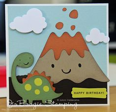 "Dinosaur and Volcano - would be cute to say ""Hope your birthday is a blast."""