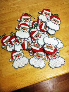 Christmas Perler Bead Santa Ornaments (with pattern)