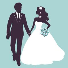 Sina with bride wedding vector silhouettes 01