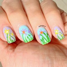 Daffodils spring flowers nail art design