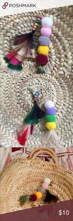 Handmade Pompom/Tassel/Bead Strings We handmade these pompom strings to order! Tell us your favorite colors or color themes (pastel, light, dark,...) and we will mix and match your strings to go with your woven straw bags! Accessories