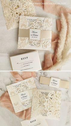 champange and ivory laser cut wedding invitation for a modern blush wedding #ewi #weddinginvitations