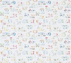 Alphabet Zoo Rainbow Brights (214026) - Sanderson Wallpapers - A fun alphabet design, with little animal characters for each letter: roller-skating bears, snakes in sunglasses and giraffes in legwarmers – a perfect nursery design. Shown in the bright multi coloured version. Wide width. Please request sample for true colour match.