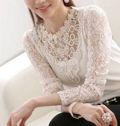 camisa de renda branca