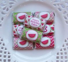 Printable Personalized Watermelon Birthday Mini Candy Bar Wrappers by PinkPosyPaperie on Etsy https://www.etsy.com/listing/207603475/printable-personalized-watermelon