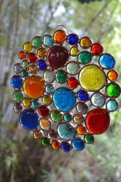 Multi Colored Bubble Round Panel by PaneintheGlassGifts on Etsy, $48.00