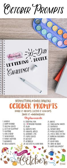 30 Day Challenge: October Prompts | Join these free 30 day challenges on Instagram to practice improve your art + lettering skills! dawnnicoledesigns.com
