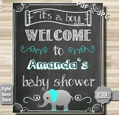 Welcome Sign Baby Shower Welcome Chalkboard by DigitalitemsShop