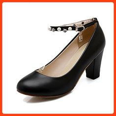 AllhqFashion Women s Buckle High Heels Pu Solid Round Closed Toe  Pumps-Shoes ff177a2845a0