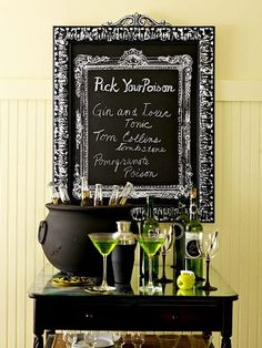 Super cute idea for a Halloween bar.