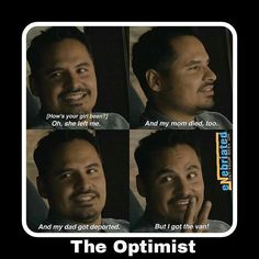 I love this part of the movie Ant Man luis and his optimism