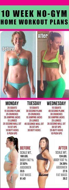 10 Week No-Gym Home Workout Plan #10weeknogym #workout #fitness #fitaddict #burnfat