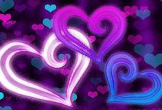 purple background hearts