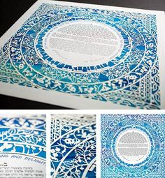 Sasson Papercut - Light Blue Violet Ketubah by Enya Keshet. Ketubah.com