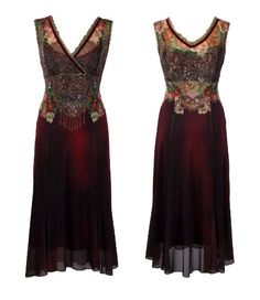 "Mid-Calf Evening Dress | Michal Negrin | $1,128 ""Decorated with Lace Like and Victorian Style Roses Pattern on the Bodice, Accented with Multicolor Swarovski Crystals, Metallic Lace Trim and Velvet Strips"""