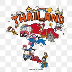 Landmark map of thailand PNG and Vector Thailand Tourism, Thailand Travel, World Map With Pins, Cartoon Clouds, Map Icons, Asia Map, Tourist Map, Cartoon Tattoos, Australia Map