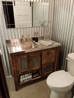 Rustic Vanity 42 Reclaimed Barn Wood w/Barn Tin