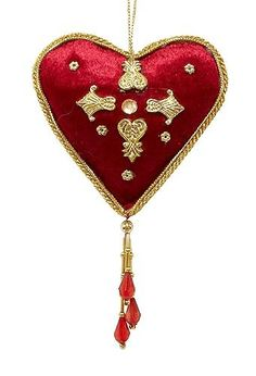 $3.99-$0.00 Burgundy And Gold Velvet Heart Christmas Ornament With Tassel -  http://www.amazon.com/dp/B0019AO86C/?tag=pin2wine-20