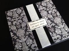 Black White Ivory Damask Wedding Guest Book or by lovebirdbooks, $35.00