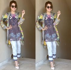 Aiza you are sooo beautiful Pakistani Lawn Suits, Pakistani Dress Design, Pakistani Outfits, Pakistani Clothing, Frock Fashion, Diva Fashion, Fashion Wear, Short Frocks, Pakistani Street Style