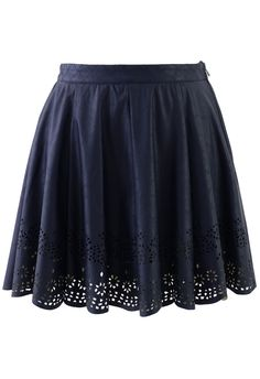Blue Faux Leather Skirt with Cut Out Detail - New Arrivals - Retro, Indie and Unique Fashion