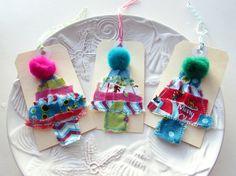 Gift tag Christmas Tree tag Appliqued fabric tag by Itsewbella