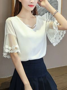 Buy V-Neck Hollow Out Plain Bell Sleeve Blouse online with cheap prices and discover fashion Blouses at Fashionmia.com.