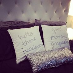 Good Morning Gorgeous & Hello Handsome White Silver Hand Painted Throw Pillows 18 X 18