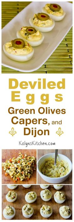 Deviled Eggs are the perfect low-carb party food any time of year, and these Deviled eggs with Green Olives, Capers, and Dijon are loaded with interesting flavors! [found on KalynsKitchen.com]: