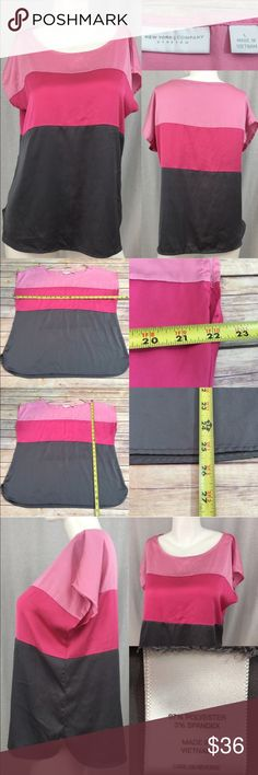 👄Sz Large NY & Co. Color Block Pink Blouse Top Measurements are in photos. Normal wash wear, no flaws. A2/23  I do not comment to my buyers after purchases, due to their privacy. If you would like any reassurance after your purchase that I did receive your order, please feel free to comment on the listing and I will promptly respond. I ship everyday and I always package safely. Thanks! New York & Company Tops